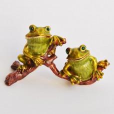 Шкатулка со стразами Н-23-2920-1 две жабы на ветке