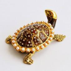 Шкатулка со стразами Н-23-3039-1 черепаха с жемчужинами на спине