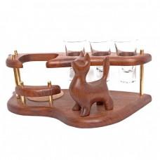 Мини-бар (водочный поднос) со скульптурой Кот стоящий