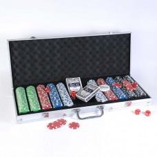 Набор для игры в покер в алюминиевом кейсе (500 фишек)