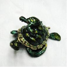 Шкатулка со стразами Черепаха с черепашонком 2418