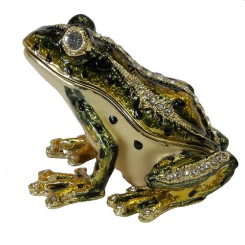Сувенир шкатулка 33 Лягушка со стразами