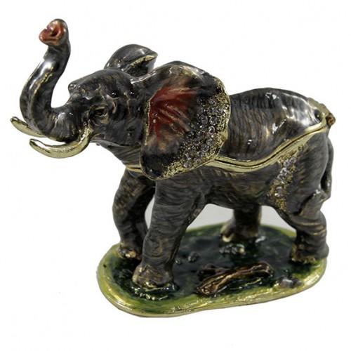 Шкатулка со стразами 287 Слон с хоботом вверх