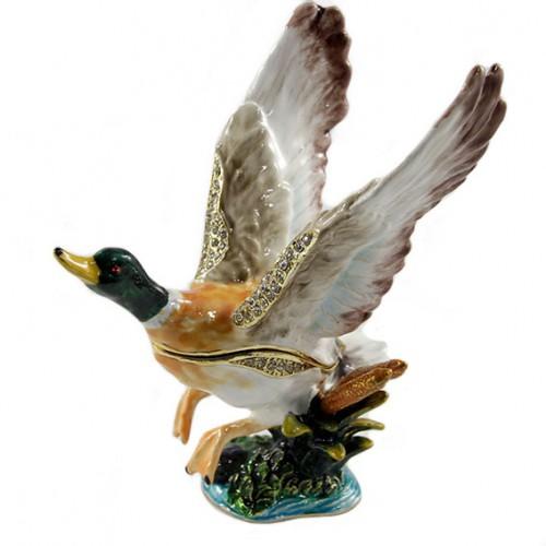 Шкатулка со стразами №1284 Утка летящая