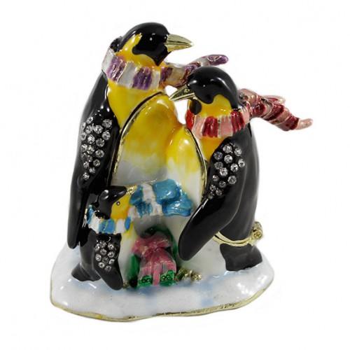 Шкатулка со стразами №1357 Семья пингвинов