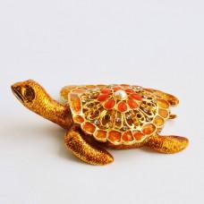 Шкатулка со стразами Н-23-3004-1 черепаха с 1-й жемчужиной