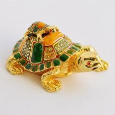 Шкатулка со стразами Н-23-3063-1 черепаха с черепашонком