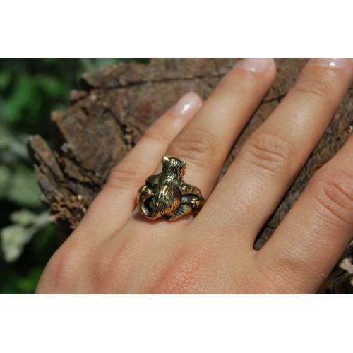 Бронзовое кольцо Кот безразмерное