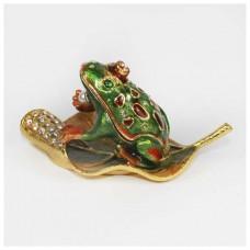 Шкатулка со стразами Н-23-3008 жаба с жемчужиной на листе