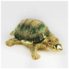 Шкатулка со стразами Н-23-2042-005-1 малахитовая черепаха