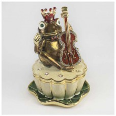 Шкатулка со стразами Н-23-1475-5 жаба в короне со скрипкой