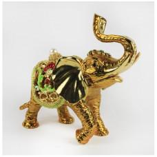 Шкатулка со стразами Н-23-2693 золотой слон с ковриком
